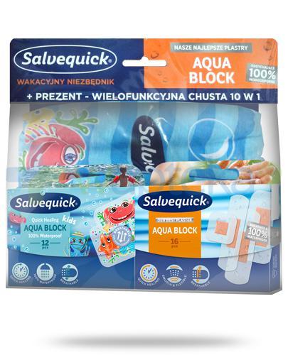 Salvequick Wakacyjny niezbędnik, Aqua Block plastry 12 sztuk + Salvequick Aqua Block plastry 16 sztuk + wielofunkcyjna chusta 10w1 [ZESTAW]