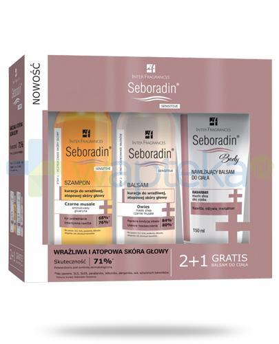 Seboradin Sensitive szampon 200 ml + balsam do skóry głowy 200 ml + balsam do ciała 150 ml [ZESTAW]