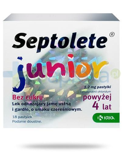Septolete Junior o smaku czereśniowym bez cukru 18 pastylek