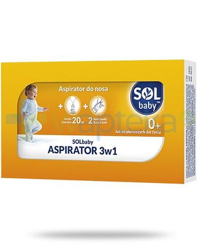 SOLbaby aspirator 0+ do nosa 3w1 +woda morska 20 ml + 2 końcówki Extra Soft
