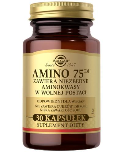 SOLGAR Amino 75 kompletny zestaw aminokwasów egzogennych 30 kapsułek  Z TYM PRODUKTEM DOSTAWA GRATIS!