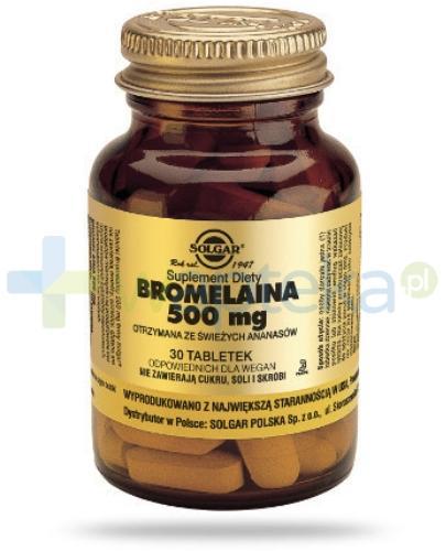 SOLGAR  Bromelaina 500 mg 30 tabletek  Z TYM PRODUKTEM DOSTAWA GRATIS!