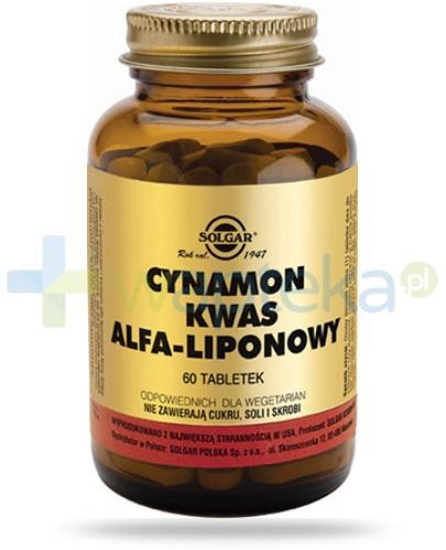 SOLGAR Cynamon i kwas alfa-liponowy 60 tabletek Z TYM PRODUKTEM DOSTAWA GRATIS!