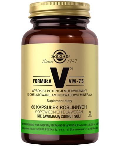 SOLGAR Formuła VM-75 (kaps. roślinne) wysokiej potencji schelatowane witaminy i minerały 60 kapsułek Z TYM PRODUKTEM DOSTAWA GRATIS!
