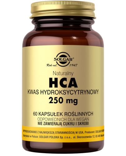 SOLGAR HCA naturalny kwas hydroksycytrynowy 250 mg 60 kapsułek Z TYM PRODUKTEM DOSTAWA GRATIS!