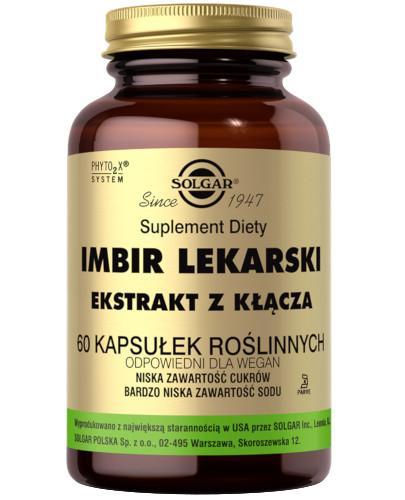 SOLGAR Imbir Lekarski ekstrakt z kłącza ginger 60 kapsułek Z TYM PRODUKTEM DOSTAWA GRATIS!