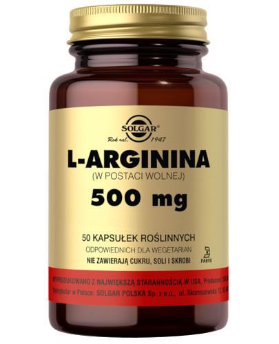 SOLGAR L-Arginina 500 mg 50 kapsułek