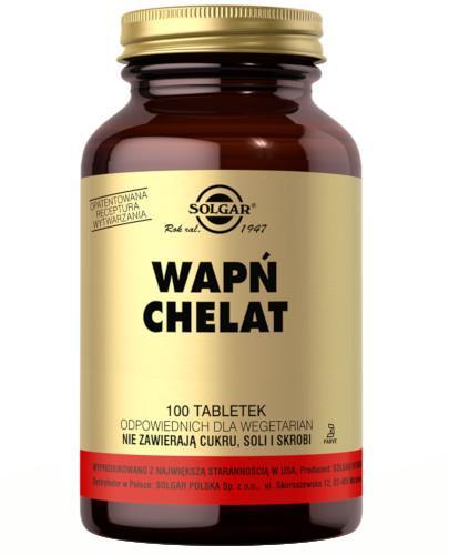 SOLGAR Wapń chelat aminokwasowy 100 tabletek Z TYM PRODUKTEM DOSTAWA GRATIS!
