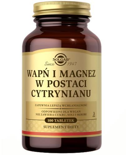 SOLGAR Wapń i Magnez w postaci cytrynianu zapewniającego lepszą wchłanialność 100 tabletek Z TYM PRODUKTEM DOSTAWA GRATIS!
