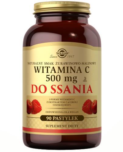 SOLGAR Witamina C 500 mg naturalny smak żurawinowo-malinowy 90 pastylek do ssania Z TYM PRODUKTEM DOSTAWA GRATIS!
