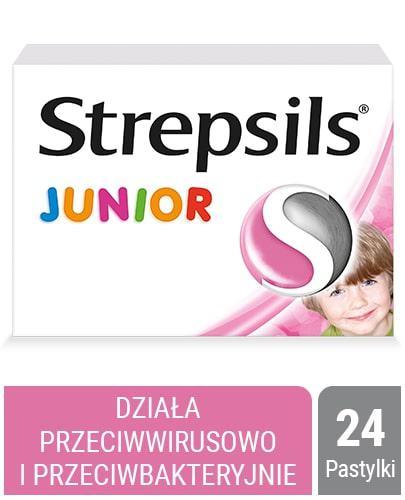 Strepsils Junior o smaku truskawkowym bez cukru 24 pastylki twarde