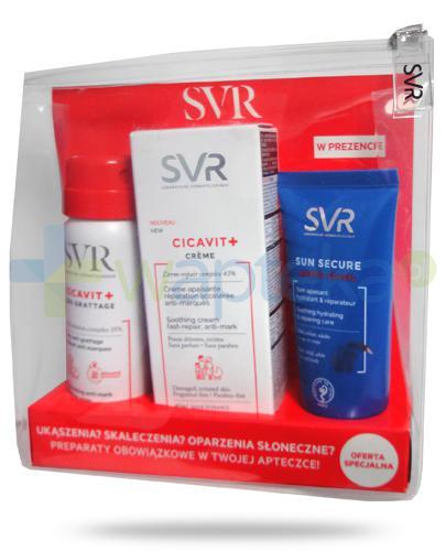 SVR Cicavit+ SOS Grattage kojący spray przeciwświądowy 40 ml + krem kojąco-regenerujący do skóry uszkodzonej 40 ml + Sun Secure Apres Soleil regenerujący krem po opalaniu dla dzieci i dorosłych 50 ml [ZESTAW]