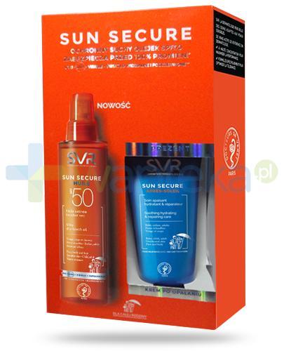 SVR Sun Secure Huile suchy olejek SPF50 satynowe wykończenie 200 ml + SVR Sun Secure Apres Soleil regenerujący krem po opalaniu 50 ml [ZESTAW]