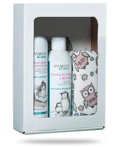 Sylveco dla dzieci kremowy szampon i płyn do kąpieli 300 ml + Sylveco dla dzieci oliwka do ciała z betuliną 200 ml + bawełniana myjka do kąpieli [ZESTAW]