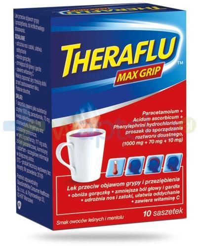 Theraflu Max Grip saszetki na objawy grypy i przeziębienia - 10 sztuk