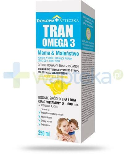 Domowa Apteczka Tran Omega 3 Mama i Maleństwo smak soczysta cytryna 250 ml