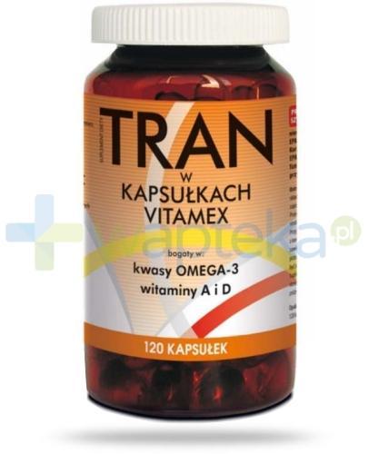 Tran w kapsułkach kwasy Omega-3 witaminy A i D 120 kapsułek
