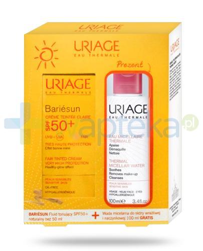 Uriage Bariesun fluid tonujący SPF50+ naturaly beż 50 ml + woda micelarna do skóry wrażliwej i naczynkowej 100 ml [ZESTAW]