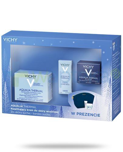 Vichy Aqualia Thermal nawilżający krem bogata konsystencja do skóry wrażliwej, suchej i bardzo suchej 50 ml + żel-krem na noc 15 ml + serum 3 ml + kosmetyczka niebieska [ZESTAW]