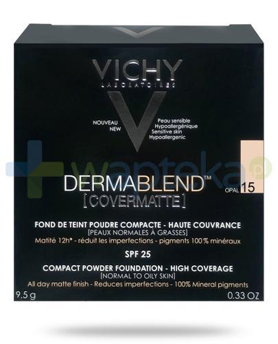Vichy Dermablend Covermatte SPF25 puder kryjący w kompakcie 15 OPAL 9,5 g + Pędzel Kabuki do pudru i podkładu [GRATIS]