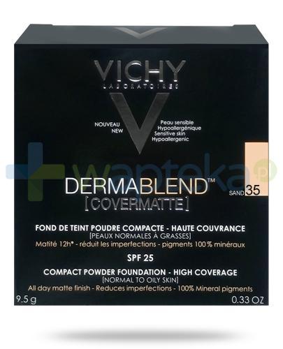 Vichy Dermablend Covermatte SPF25 puder kryjący w kompakcie 35 SAND 9,5 g + Pędzel Kabuki do pudru i podkładu [GRATIS]