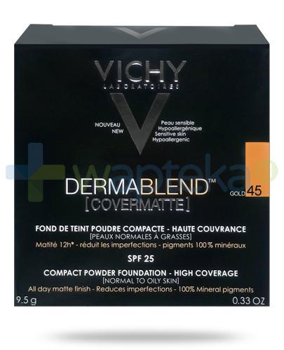 Vichy Dermablend Covermatte SPF25 puder kryjący w kompakcie 45 GOLD 9,5 g + Pędzel Kabuki do pudru i podkładu [GRATIS]