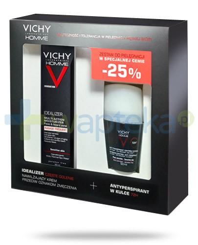 Vichy Homme Idealizer ZESTAW krem nawilżający częste golenie przeciw oznakom zmęczenia 50 ml + antyperspirant w kulce 72h 50 ml
