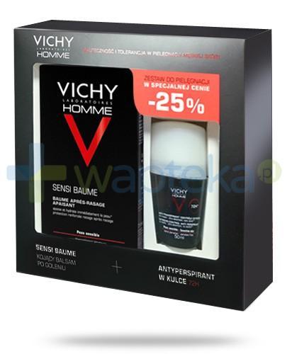 Vichy Homme ZESTAW Sensi Baume kojący balsam po goleniu 75 ml + Vichy Homme 72h antyperspirant w kulce do skóry wrażliwej 50 ml