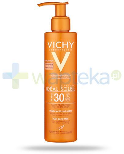 Vichy Ideal Soleil Capital SPF30 mleczko przeciw piaskowi do twarzy i ciała 200 ml + podróżna kosmetyczka [GRATIS]