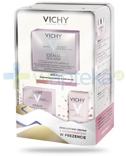 Vichy Idealia Skin Sleep ZESTAW 2016 balsam regenerujący w żelu na noc 50 ml + krem rozświetlająco wygładzający na dzień 15 ml + serum 3 ml