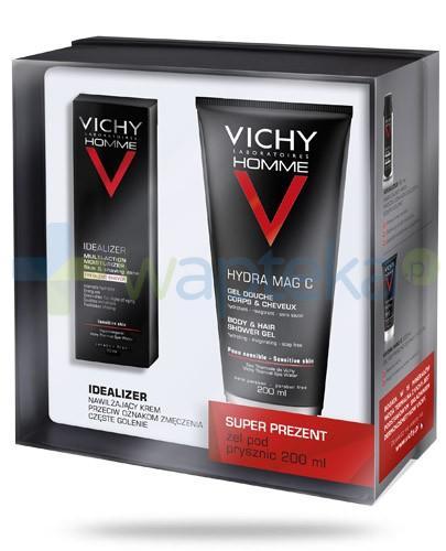 Vichy Homme Idealizer krem nawilżający przeciw oznakom zmęczenia częste golenie 50 ml + Vichy Homme Hydra Mag C żel pod prysznic do włosów i ciała 200 ml [ZESTAW]
