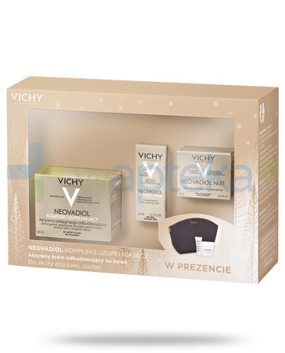Vichy Neovadiol Kompleks uzupełniający aktywny krem odbudowujący na dzień do skóry dojrzałej, suchej 50 ml + krem na noc 15 ml + serum 3 ml + kosmetyczka [ZESTAW]