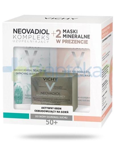 Vichy Neovadiol Kompleks Uzupełniający ZESTAW krem aktywny odbudowujący na dzień skóra dojrzała sucha 50 ml + maska peelingująco rozświatlająca 6 ml + maska mineralna nawilżająca 6 ml