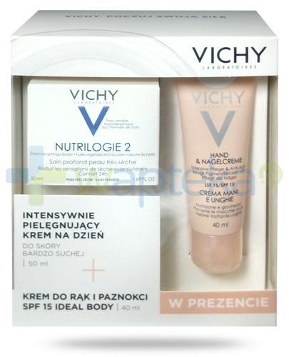 Vichy Nutrologie 2 intensywnie pielęgnujący krem na dzień do skóry bardzo suchej 50 ml + Vichy Ideal Body krem do rąk i paznokci SPF15 40 ml [ZESTAW]