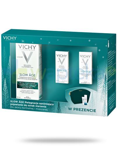 Vichy Slow Age kremowy fluid opóźniający efekty starzenia do skóry normalnej i mieszanej 50 ml + krem 10 ml + krem 3 ml + kosmetyczka [ZESTAW]