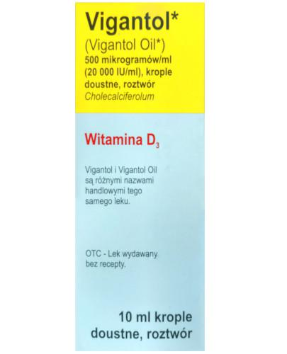 Vigantol Oil witamina D3, Cholecalciferolum 500µg/ml 20000 IU, krople doustne 10 ml