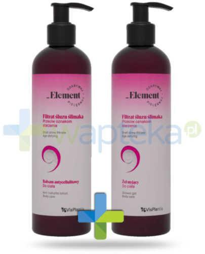Vis Plantis _Element filtrat śluzu ślimaka przeciw oznakom starzenia, balsam antycellulitowy do ciała 400 ml + żel myjący do ciała 400 ml Elfa Pharm [ZESTAW]