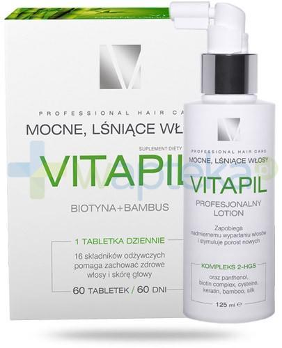 Vitapil Mocne, lśniące włosy 60 tabletek + Vitapil Profesjonalny Lotion przeciw wypadaniu włosów 125 ml