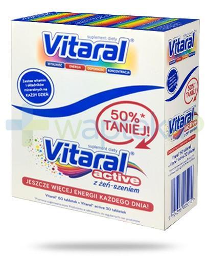 Vitaral ZESTAW 60 tabletek + Vitaral Active z żeń-szeniem 30 tabletek - Data ważności 31-10-2017