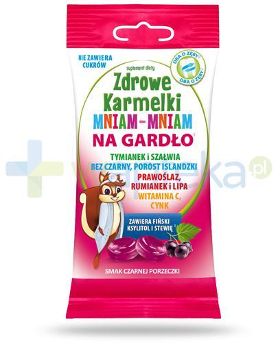 Zdrowe karmelki Mniam-Mniam na gardło cukierki o smaku czarnej porzeczki 25 sztuk