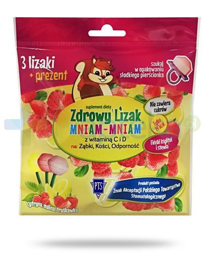 Zdrowy lizak Mniam-Mniam z witaminą C i D o smaku cytrynowym, malinowym i truskawkowym 3 sztuki + prezent [ZESTAW]