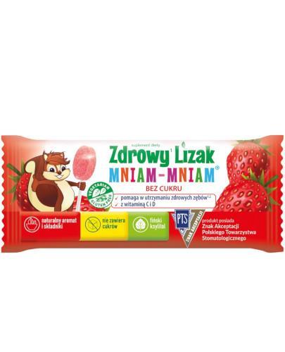 Zdrowy lizak Mniam-Mniam z witaminą C i D o smaku truskawkowym 1 sztuka