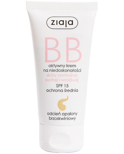 Ziaja BB aktywny krem na niedoskonałości SPF15 do skóry normalnej i wrażliwej odcień opalony brzoskwiniowy 50 ml
