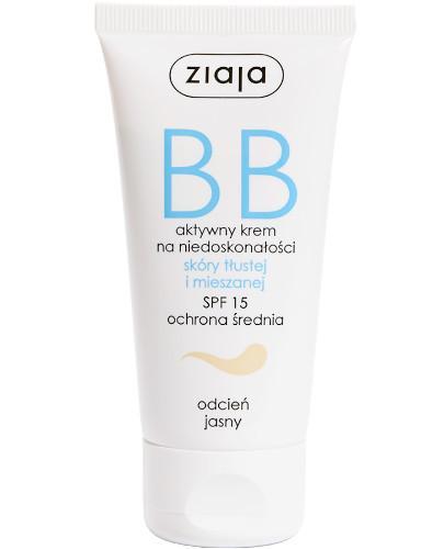 Ziaja BB aktywny krem na niedoskonałości SPF15 do skóry tłustej i mieszanej odcień jasny 50 ml