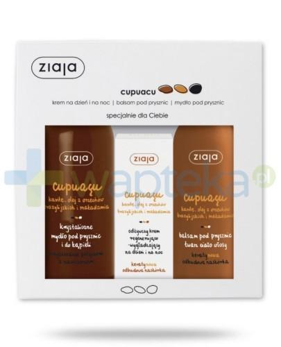 Ziaja Cupuacu Krystaliczne mydło pod prysznic i do kąpieli 500 ml + Balsam pod prysznic 300 ml + Odżywczy krem regenerująco-wygłądzający 50 ml [ZESTAW]