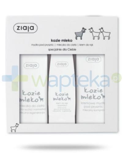 Ziaja Kozie Mleko mydło pod prysznic 500 ml + mleczko do ciała 500 ml + krem do rąk 80 ml [ZESTAW]