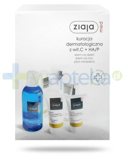 Ziaja Med Kuracja dermatologiczna z witaminą C krem ujędrniający SPF6 na dzień 50 ml + krem głęboko regenerujący na noc 50 ml + płyn micelarny 200 ml [ZESTAW]