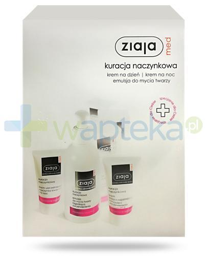 Ziaja Med Kuracja naczynkowa, krem kojąco-rozjaśniający SPF20 na dzień 50 ml+ krem na noc 50 ml + emulsja do mycia twarzy 200 ml [ZESTAW]