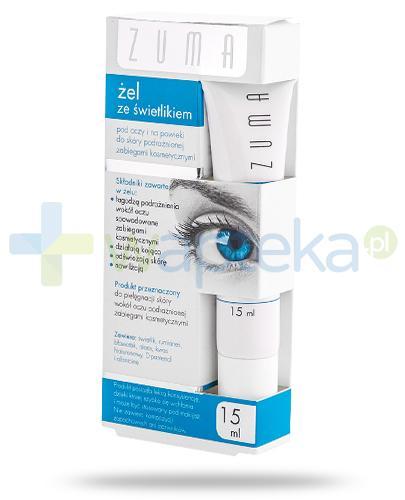 Zuma żel ze świetlikiem pod oczy i na powieki do skóry podrażnionej zabiegami kosmetycznymi 15 ml